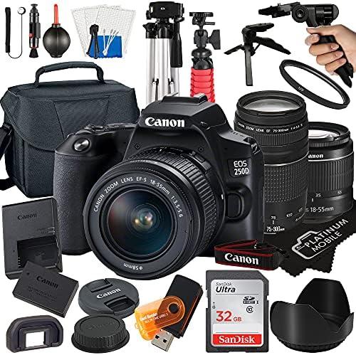 Canon EOS 250D / Rebel SL3 Digital SLR Camera 24.1MP CMOS Sensor with EF-S 18-55mm + EF 75-300mm Lens + SanDisk 32GB Card + Tripod + Case + MegaAccessory Bundle (22pc Bundle)