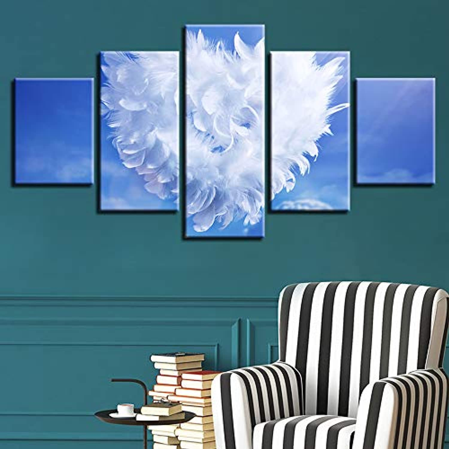 Home Decor Print Painting Modular Vintage Art Canvas 5 Panel bluee Sky White Clouds Wall Art Picture for Living Room Poster