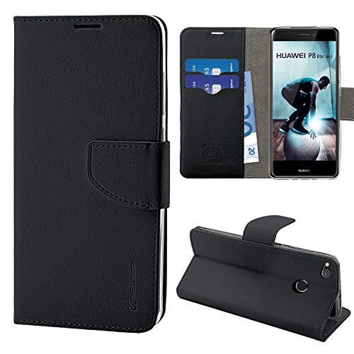 NewTop Cover Compatibile per Huawei P8 Lite/2017/Smart, HQ Lateral Custodia Libro Flip Magnetica Portafoglio Simil Pelle Stand (per P8 Lite 2017, Nero)