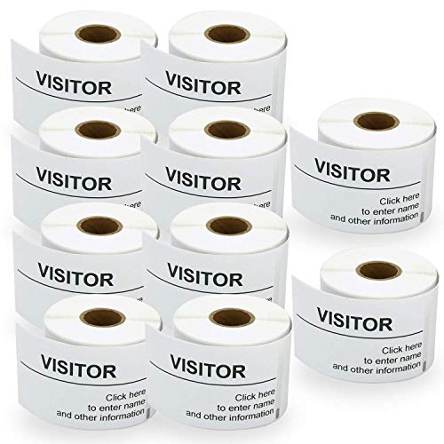 "BETCKEY - Compatible DYMO 30857 (2-1/4"" x 4"") Visitor Name Tag Badge Labels - Compatible with Rollo, DYMO Labelwriter 450, 4XL & Zebra Desktop Printers[10 Rolls/2500 Labels]"