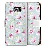 Étui Compatible avec Samsung Galaxy S6 Edge Étui Folio Étui magnétique Magnolia Fleurs Peinture