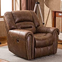 ANJ Electric Recliner Chair W/Breathable Bonded Leather, Classic Single Sofa Home Theater Recliner Seating W/USB Port (Nut Brown)