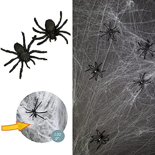 L+H Spinnennetz Halloween Dekoration in Premium QUALITÄT │ 100 Gramm XXL Netz inkl 31 Spinnen │ Spinngewebe Vorhang Halloween-Deko ideal für Halloween Party für Haus & Garten - Kamin Fenster Türen