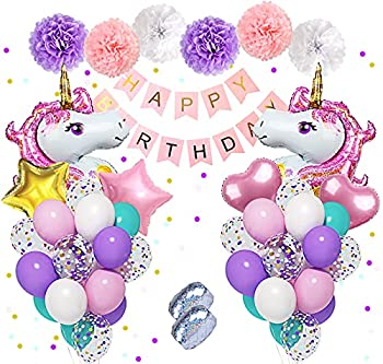 Unicorn Birthday Decorations for Girls Large Unicorn Balloons Purple Pink Balloons Latex Confetti Balloons Happy Birthday Banner Paper Flowers for Unicorn Birthday Party Supplies &2 Ribbons