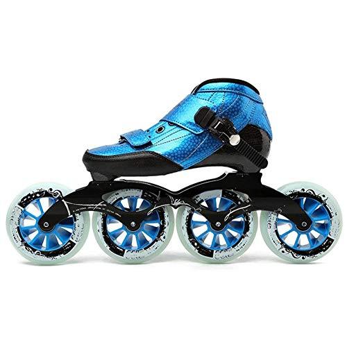 MAMU Professionelle Inline Speed Skates High Performance Outdoor-Anfänger Inline-Rollen-Hockey-Skates,Blau,34