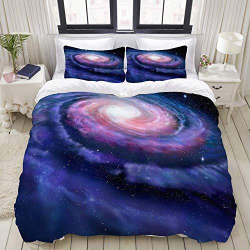 Funda nórdica, Galaxia Espiral Rosa Azul Rosa Galaxia ilustración de la vía láctea mágica Cosmos Universo, Juego de Cama Juegos de Microfibra de Lujo Ultra cómodos y Ligeros (3 Piezas)