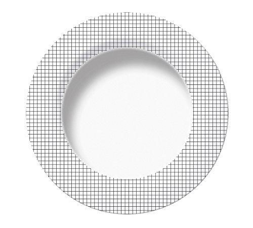 Excelsa Enjoy Assiette Creuse, Porcelaine, Carreaux Noir, 22.5 x 22.5 x 3 CM