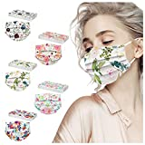 50Pc Flower Disposable 3ply Face_Mask for Glasses Wearer With Nose Wire(A)