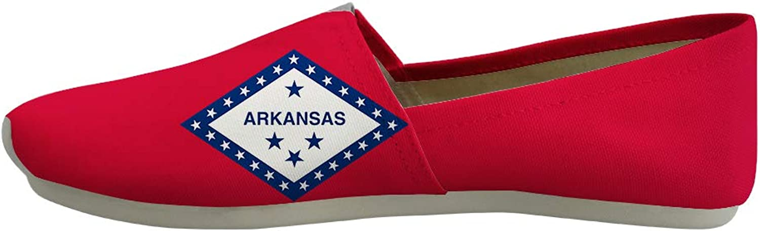 Owaheson Classic Canvas Slip-On Lightweight Driving shoes Soft Penny Loafers Men Women Free State Arkansas Flag