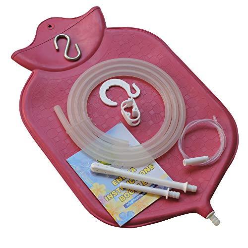 HealthGoodsIn - 4-Quart Rubber Enema Bag Kit for Colon Cleansing | Reusable Enema Bag Kit for All Types of Enemas (Pink)