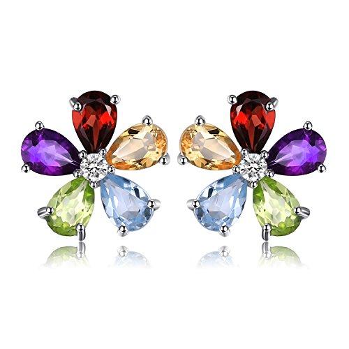 JewelryPalace Blume 4.3ct Mehrfarbige Natürliche Amethyst Citrin Granat Peridot Blau Topas Ohrstecker 925 Sterling Silber
