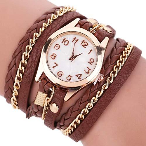 Dosige Pulsera del Relojes Retro Estilo Romano Cuarzo Reloj de Pulsera Mujeres Accesorios de Moda(Marrón)