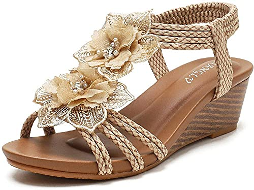 HTYY Sandalias de Verano de cuña de Mujer cómoda de Punta Redonda de Tobillo Floral Bohemia Zapatos de Gladiador de Playa 36-42-41_Oro