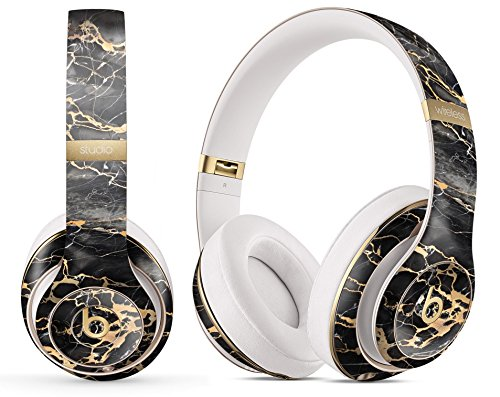 Marble Pattern Design Skinz Premium Full-Body Cover Wrap Decal Skin-Kit for The Beats by Dre Studio 3 Wireless - Black and Gold Marble Surface