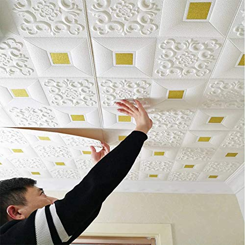 24x7 eMall 4 Pcs Foam Wall 3D Ceiling Wallpaper Tiles Panel Vinyl Stickers Self-Adhesive for Home, Living Room, Bedroom Wall Panels (70 X 70 cm) (4, White and Gold)