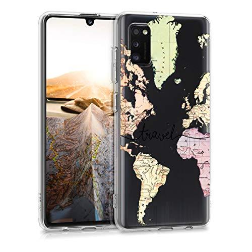 kwmobile Hülle kompatibel mit Samsung Galaxy A41 - Handyhülle - Handy Hülle Travel Schriftzug Schwarz Mehrfarbig Transparent