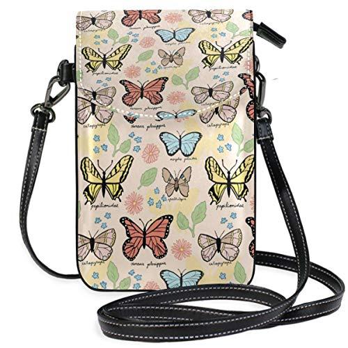 XCNGG Butterflies Pattern Cell Phone Purse Wallet for Women Girl Small Crossbody Purse Bags