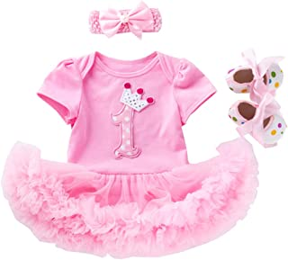 Fairy Baby 3Pcs Newborn Baby Girls Birthday Party Dresses Tulle Skirt Princess Clothes Set