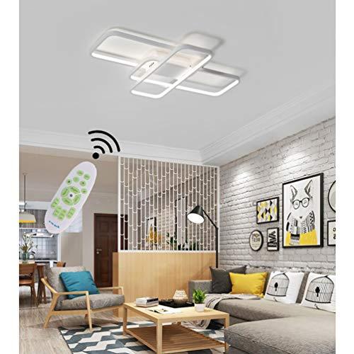 Lampara LED de techo para salon, regulable, 3000 K – 6500 K, lampara de techo de diseno moderno rectangular con mando a distancia, lampara de techo de metal acrilico para mesa de comedor, dormitorio