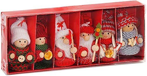 BRUBAKER 6-Piece Set Christmas Dolls - Wood/Knit - 3.2 Inches Height - Tree Ornaments in Red Gift Box