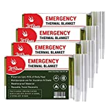 LIT FITNESS Emergency Blankets (Pack of 4) Thermal Blankets, Space Blanket Designed for Outdoors, Hiking, Survival, Marathons Survival Blanket, First Aid or Camping Blanket kit