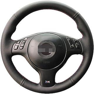 HCDSWSN Daim Noir en Cuir v/éritable Bricolage Housse de Volant de Voiture Cousu Main pour BMW E39 E46 325i E53 X5