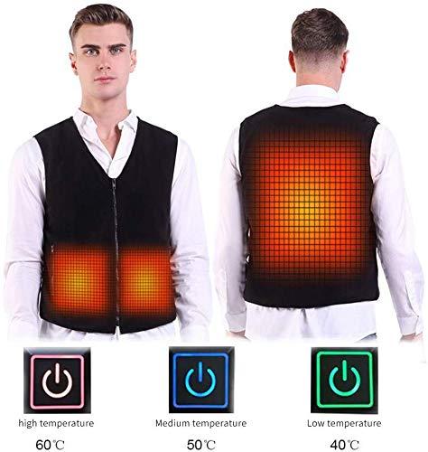 CHNDR intelligente elektrische verwarming jas voor heren, oplaadbaar vest, wasbaar verwarmd vest, winterwarme kleding, voor skiën, kamperen en motorfiets, cadeau), L