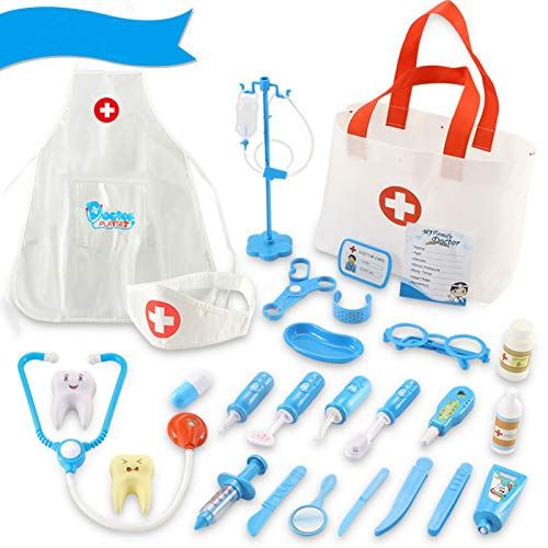 Qutasivary Doctor Kit for Kids, 28 Pcs Toddlers Doctor/Dentist Toys Pretend Play w/c Medical Bag, Christmas Gifts for Boys/Girls Ages 3+(Updated Version)