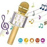 Bearbro Microfono Karaoke Bluetooth con Altoparlante,Portatile KTV Karaoke Player per Cantare, Funzione Eco, per Adulti e Bambini Compatibile con Android/PC or smartphone (oro)