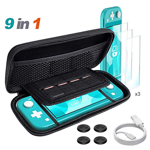 ALRY Switch Accessories Bundle, Funda de Transporte Negra para Nintendo Switch Lite, Protectores de Pantalla de Vidrio Templado, Cable de Carga USB, Funda para Interruptor, Tapa basculante