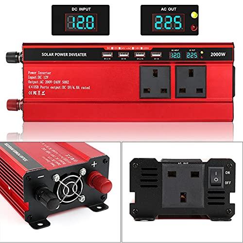 Wxnnx Inversor de corriente de 1500 W/2000 W, DC 12 V a 230 V/240 V CA convertidor de coche con cuatro puertos USB, 3 salidas universales, pantalla LED, 2000 W/12 V