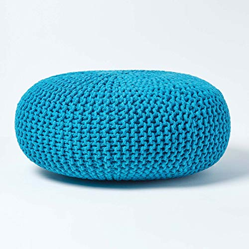 Homescapes Teal Blue Large Knitted Pouffe