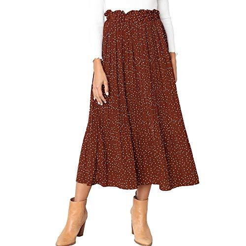 Exlura Womens High Waist Polka Dot Pleated Skirt Midi Swing Skirt with Pockets Coffee Medium