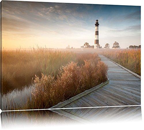 Leuchtturm im Nebel Format: 100x70 auf Leinwand, XXL riesige Bilder fertig gerahmt mit Keilrahmen, Kunstdruck auf Wandbild mit Rahmen, günstiger als Gemälde oder Ölbild, kein Poster oder Plakat
