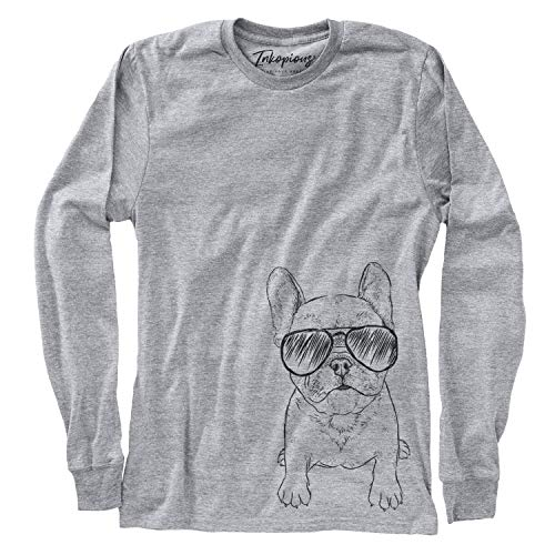 Aviator PuppyPierre The French Bulldog Women's Long Sleeve T-Shirt Large Grey
