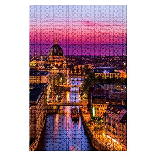 Wooden Jigsaw Puzzle Aerial view of Berlin skyline with Spree river at sunset Germany 1000 Pieces for Adult Children Educational Decompression DIY Toys Gifts Fits Together Perfectly Multicolor