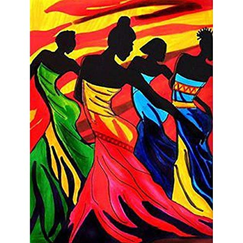 Diamond Painting Abstract Beauty Girl Dancers & African Woman 16X20 INCH (40X50CM) Diamond Paintings DIY 5D Diamond Painting Kits for Adults Diamond Art Kits for Adults Home Wall Decor