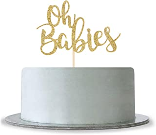 Gold Glitter Oh Babies Cake Topper for Twins Baby Shower,Gender Reveal,Baby 6 Months, 1st Birthday Party Decorations Supplies Twins Cake Topper