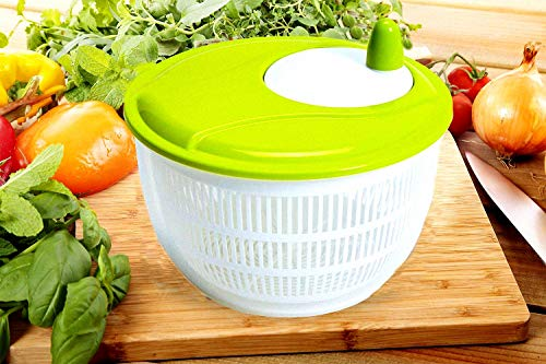 Salad Spinner Ruijon Large 5 Quarts Fruit and Vegetable Washer, with Colander and Dishwasher Safe Bowl, Design BPA-Free Dry Off and Drain Lettuce with Ease for Tastier Salads and Faster Food Prep