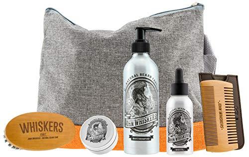 John Whiskers Bartpflege Set – Bartwachs, Bartbürste, Bartöl, Bartkamm und Bartshampoo in praktischem Kulturbeutel – Hochwertiges Bartpflegeset als Geschenk für Männer