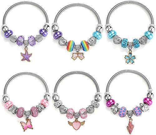 PinkSheep Bracelets for Kids, 6PC, Little Girl Friendship Bracelets Charm Bracelet, Party Favor Dress Up