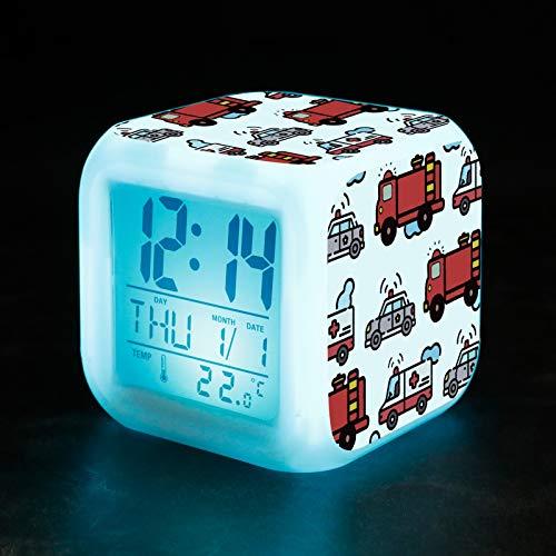 upain Kinder Lichtwecker Wake Up Licht Digitaler Wecke LED Lichtwecker Kinderwecker Alarm Clock Leuchtend Farbwechsel für Mädchen Jungen Schlafzimmer Kinder Geburtstagsgeschenke(Car)