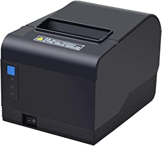80mm Printer 3'1/8 Thermal Receipt Printer, USB Serial Ethernet/LAN Port Pos Printer with Auto Cutter Support Cash Drawer Wall Hanging, Support Windows Mac System