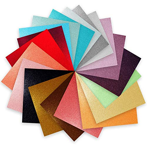 "Craftopia glitter self adhesive vinyl sheets 6"" x 6 "" 20 pack assortment..."