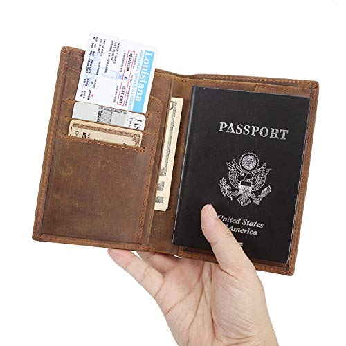 Polare Men's Functional RFID Blocking Leather Passport Holder Travel Bifold Wallet (Brown)