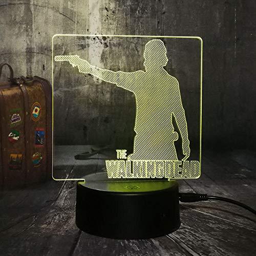 Illusion-Nachtlicht 3D Lebender Toter LED-Tisch-Schreibtischlampe 7Farben USB-Lade, Die Schlafzimmer-Dekoration für Kinder Weihnachten Halloween-Geburtstagsgeschenk Beleuchten