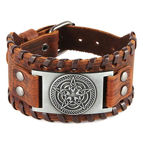 HZMAN Pagan Hermetic Celtic Knot Pentagram Metal Craft Connector Cuff Bracelet for Men Women