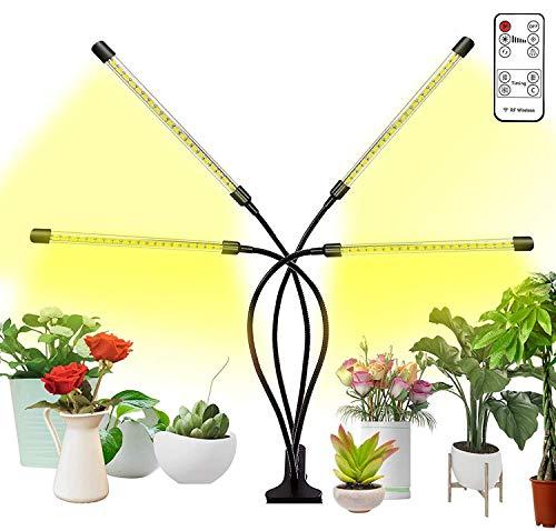 Luces para plantas de interior con control remoto inalámbrico, luces de cultivo para semillas de arranque automático y apagado de espectro completo con temporizador de 2/8/12H