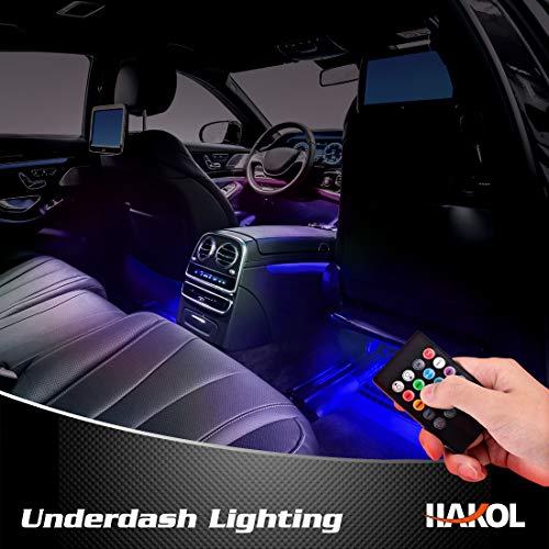 """Le Più Recenti Luci LED da macchina   Kit Di Luci Con 7 Colori Per Veicoli   Strisce LED Che Cambiano Colore Con Telecomando   Di Facile Installazione E Funzione """"Sound Active""""   4 Pezzi"""