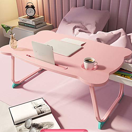 DearSnow Mesa de Estudio Plegable Multifuncional con Soporte para Ordenador portátil, Escritorio de Madera Plegable para Ordenador(Rosa,Los 60 * 40 * 28cm)